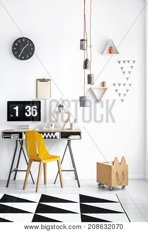 Home Office With Wooden Box