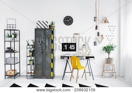 Bright Workspace With Yellow Chair