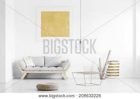 Golden Poster On White Wall