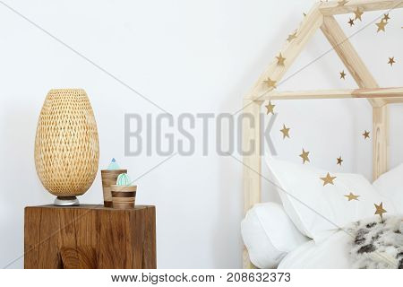 Designer Lamp On Wooden Stool