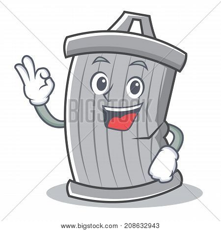 Okay trash character cartoon style vector illsutration