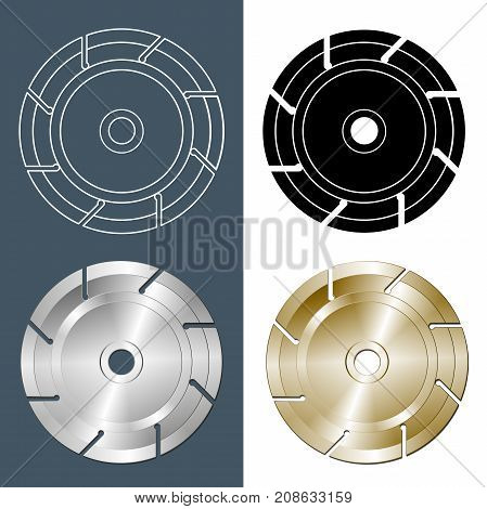 Tools and accessories. Set of Circular saw blade. Contour solid casting and illustration of a circular saw blade on a white background. Vector illustration