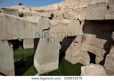 The Osirion temple at Abydos, Egypt.