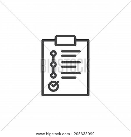 Business planning on paper clipboard line icon, outline vector sign, linear style pictogram isolated on white. Success symbol, logo illustration. Editable stroke