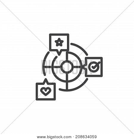 Goals with star, heart and checklist line icon, outline vector sign, linear style pictogram isolated on white. Achievement symbol, logo illustration. Editable stroke