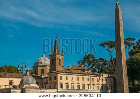 The Basilica of Santa Maria del Popolo is a titular church and a minor basilica in Rome. It stands on the north side of Piazza del Popolo, one of the most famous squares in the city