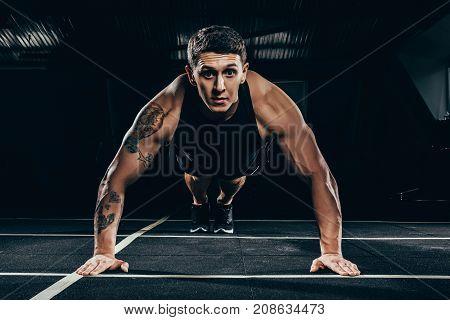 Sportsman Doing Push Ups