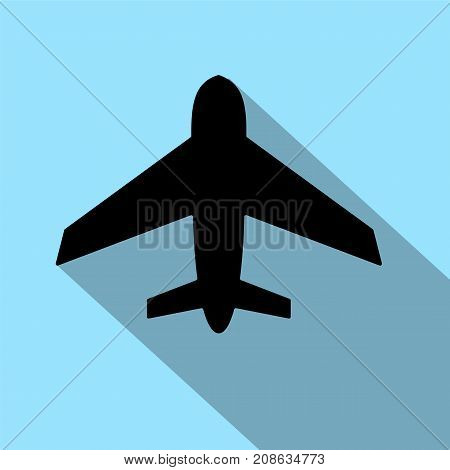 Icon plane black on a white background