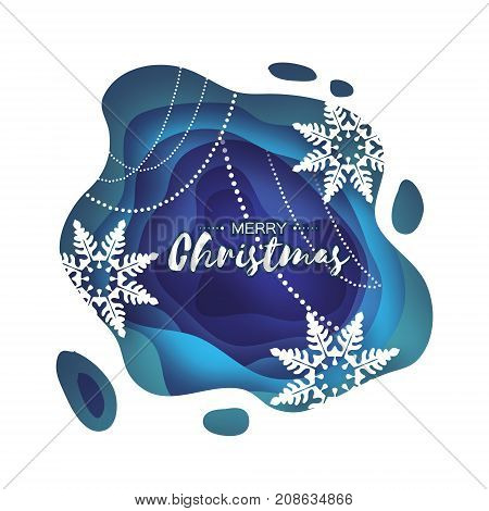 Blue Merry Christmas Greetings card. Snowfall. Paper cut snow flake. Happy New Year invitation. Winter snowflakes Garland. Text. Layered tonnel wave background. Shadows box. Vector illustration.