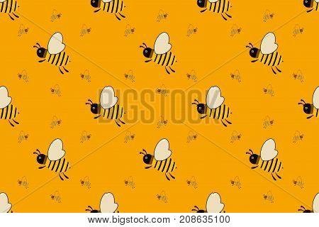Vector Seamless Pattern With Bees