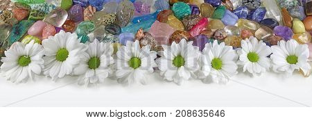 Daisies and Healing Crystals Banner - a row of white daisies in front of a random mix of tumbled healing stones of all colors ideal for a website header