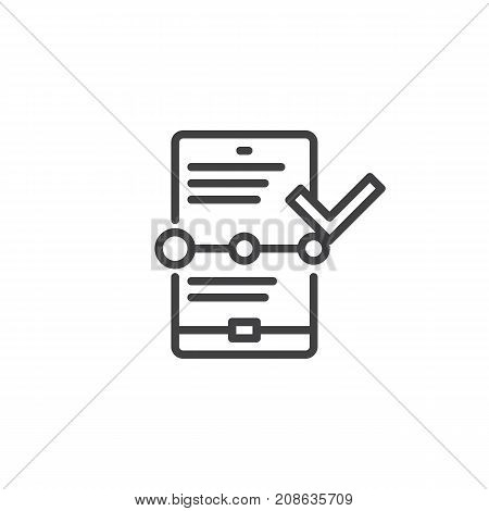 Tablet with check mark line icon, outline vector sign, linear style pictogram isolated on white. Symbol, logo illustration. Editable stroke