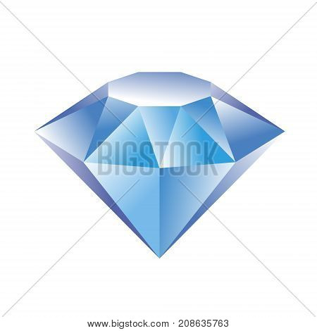 Diamond logo. Blue crystal symbol. Jewelry shop sign. Vector illustration of diamond for print or web design.