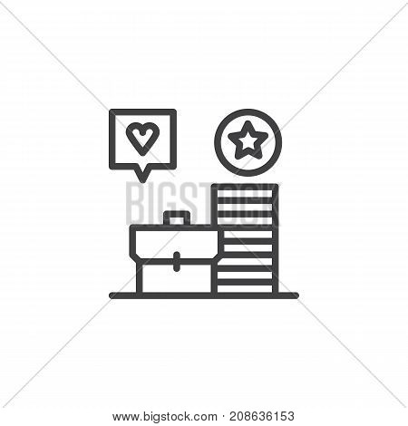 Work portfolio line icon, outline vector sign, linear style pictogram isolated on white. Symbol, logo illustration. Editable stroke