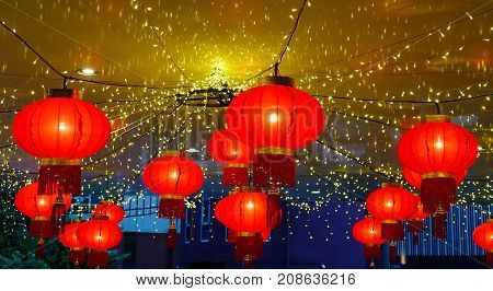 Red Chinese Lanterns At A Shopping Mall