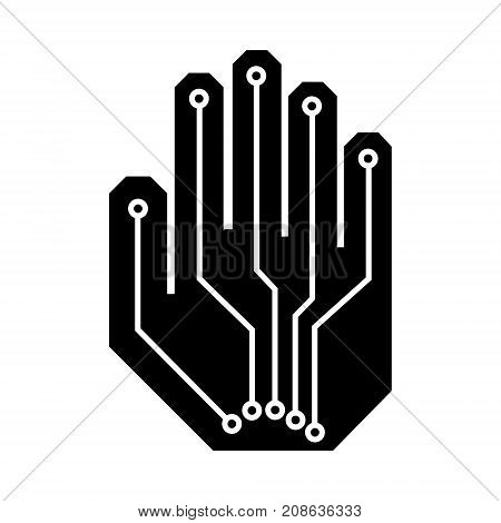 Cyber digital robotic hand logo. Simple illustration of hand open palm with virtual reality robotic hand cyber digital vector illustration for print or web design.