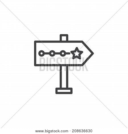 Signpost pointer line icon, outline vector sign, linear style pictogram isolated on white. Symbol, logo illustration. Editable stroke