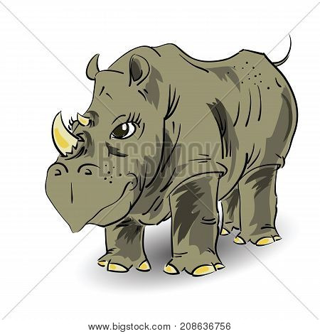 Cartoon African Large Rhino Isolated on White Background