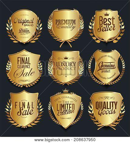 Golden Shields And Laurel Wreaths Retro Design Collection 2.eps