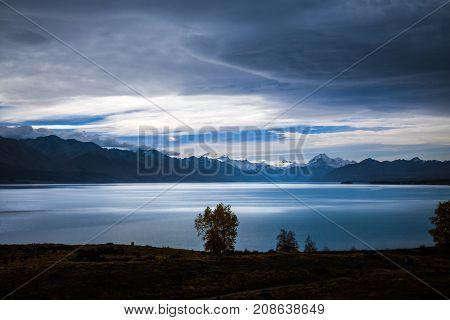 Pukaki Lake At Sunset, Mount Cook, New Zealand