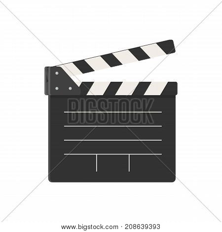 Movie clapperboard on white background. Vector illustration in trendy style