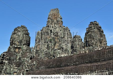 The View Around Bayon Temple Complex In Angkor Wat, Cambodia. It's Famous For Many Faces That Carved