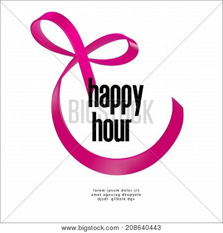 Happy Hour text sign surrounded ribbon with bow. Pink ribbon smile icon. Vector illustration.