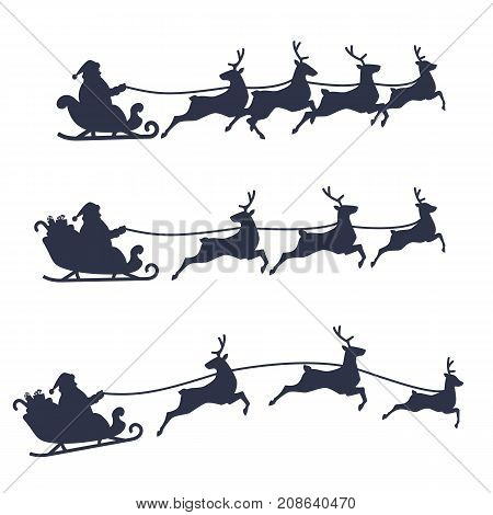 Santa Claus Sleigh and Reindeer set black and white vector illustration.