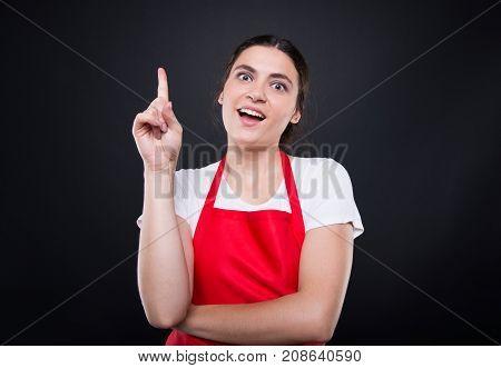 Cheerful Seller Girl Having Great Innovative Idea