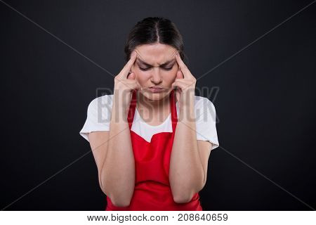 Exhausted Girl Seller Having Migraine