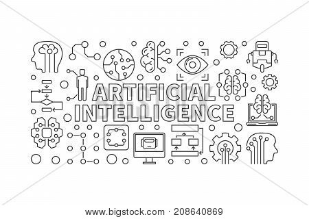 Artificial Intelligence vector modern horizontal banner or illustration in thin line style