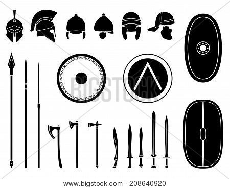 Set of ancient weapon and protective equipment. Spear sword gladius shield axe helmet. Warrior outfit Vector illustration poster