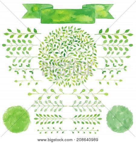 Watercolor badges and laurel leaves set. Circle green wreath of laurel leaves. Green hand drawn branches twigs with leaves. Logos ribbon spots splashes badges squares labeltextured emblem set.