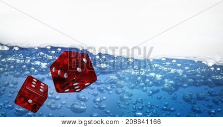 Digitally generated 3D image of red dice against image of bubbles