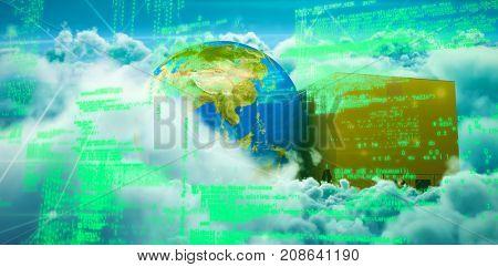 Blue codes against clouds against blue sky