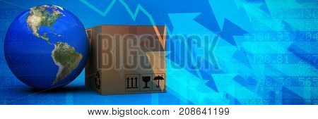3D image of planet Earth by cardboard box against stocks and shares