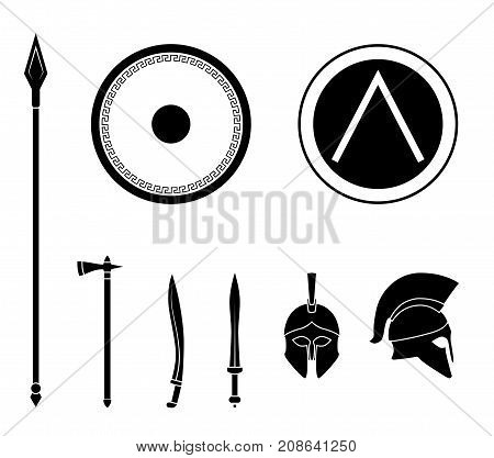 Set of ancient greek spartan weapon and protective equipment. Spear sword gladius shield axe helmet. Warrior outfit Vector illustration