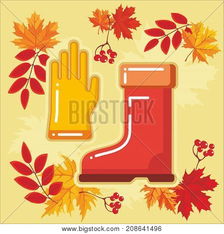 Rubber boots and gloves of garden and farm tool icon with autumn leaves. Vector Isolated autumn agricultural illustration.