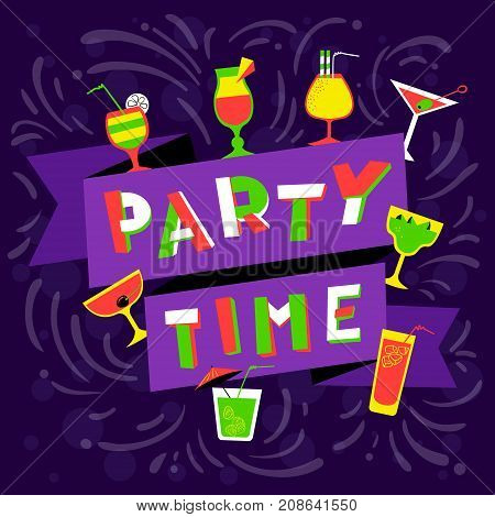 Party time lettering. Nightclub invitation. Cocktail party background in cartoon style. Violet background for club cards posters backdrops. Vector illustration