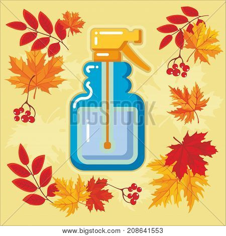 Water spray of garden tool icon with autumn leaves. Vector Isolated autumn agricultural illustration.