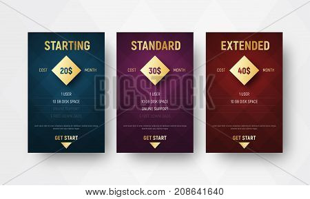 Design Of Vector Premium Tables With Rhombuses On The Background And A Gold Diamond For The Price