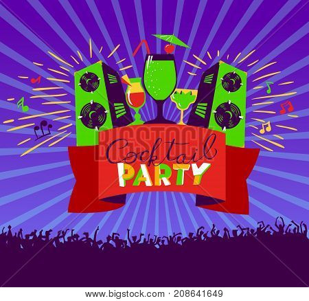 Cocktail party lettering on banner. Disco club poster with loudspeackers and music dancind people crowd. Vector illustration for party and nightclub invitation greeting cards vacation backgrounds cocktail party backdrops