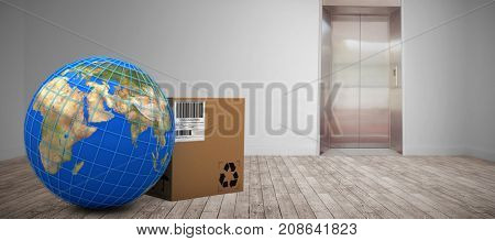 3D image of blue lines on planet Earth by box against room with elevator