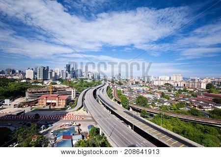 elevated road in midtown of kuala lumpur in cloud sky