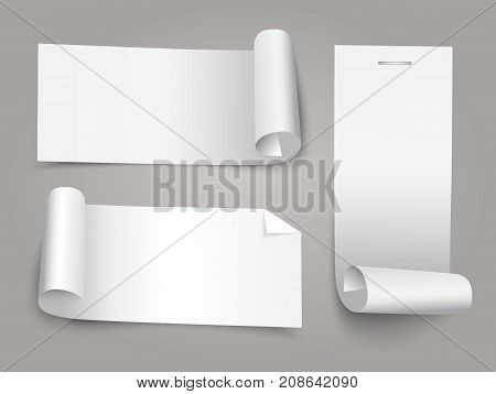 Set of white paper roll banners for business background.