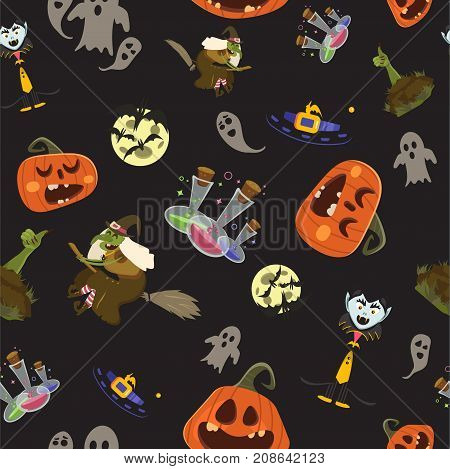 Halloween Party Seamless Pattern Design. All Hallow Eve Repetitive Print. All Saints Holiday Repeati