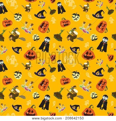 Halloween party seamless pattern design. All hallow eve repetitive print. All saints holiday repeating background for wrapping paper apparel poster etc. Cartoon vector illustration. poster