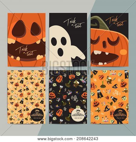 Halloween party cartoon greeting cards. All hallow eve invitation flyer design. All saints holiday background for stickers posters wallpapers layouts etc. Hand drawn vector illustration.