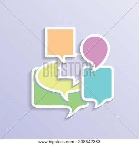 Different Colorful Speech Bubbles Isolated on Blue Gradient Background