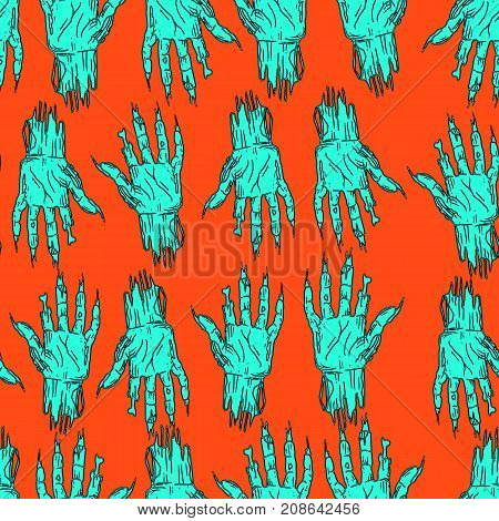 Halloween palm zombie dead man seamless funny pattern cartoon sketch style vector hand drawing crazy festive background night of all the saints.